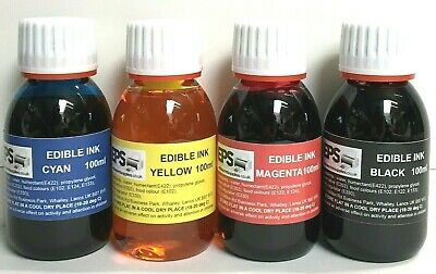£13.95 • Buy Full Set Edible Ink 100ml For Canon Or Epson Printers (red, Yellow, Blue, Black)