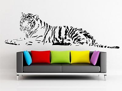 TIGER WALL ART QUOTE DECAL Sticker Home FAMILY MURAL Graphic ZOO ANIMAL Transfer • 14.99£