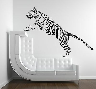 TIGER JUMPING WALL ART QUOTE DECAL Sticker Home FAMILY MURAL TRANSFER ZOO ANIMAL • 13.99£