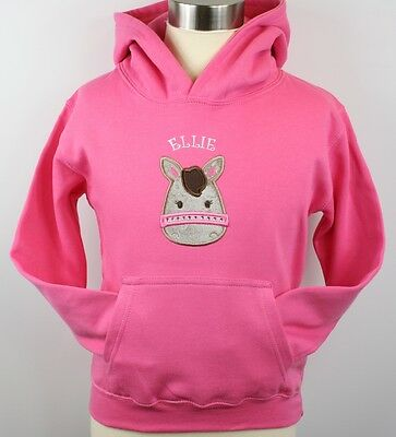 Girls Personalised Embroidered Pony/Horse Hoodie With Crystals 2 Colours  • 18.99£