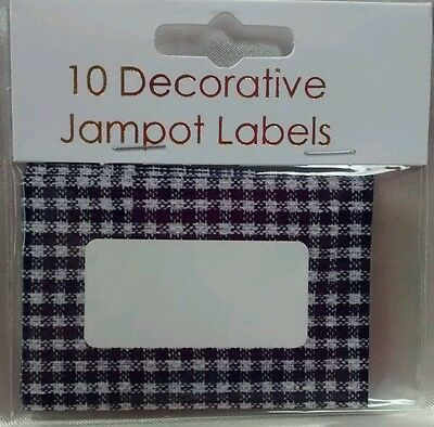EASYBAKE Large 8cm Jam JAR Pot LABELS BLUE GINGHAM Self Adhesive JAMPOT Gift  • 2.75£