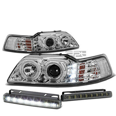 $95.88 • Buy Chrome Dual Halo Projector+led Headlight+corner+fog Light Set For 99-04 Mustang