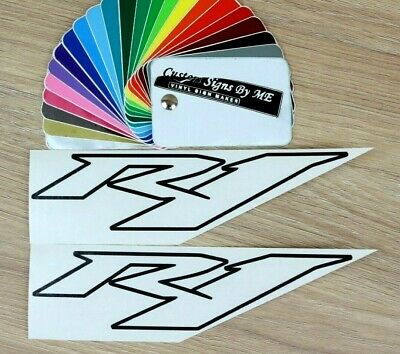 AU7.31 • Buy 2x R1 OUTLINED Stickers Tank Fairing Vinyl Decals Adhesive For Yamaha Bike BLACK
