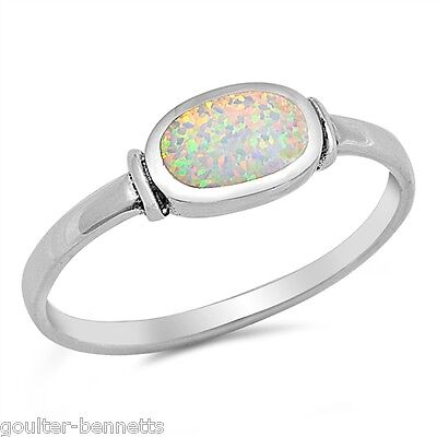£9.99 • Buy 925 Sterling Silver & Bezel Set Lab Created Opal Stacking Stacker Ring