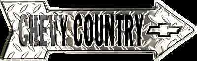 CHEVY COUNTRY EMBOSSED DIAMOND 20  X 6  METAL ARROW SIGN CHEVROLET GM GARAGE • 13.99$