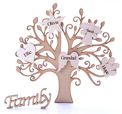 £6.25 • Buy Wooden Family Tree Shape With Personalised Hearts & Family Sign Mdf