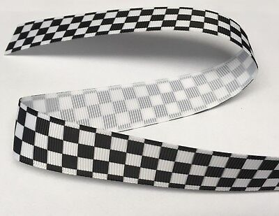 £1.35 • Buy 1m CHEQUERED FLAG FORMULA 1 RACING POLICE RIBBON 7/8  22mm BOW CAKE BOARD