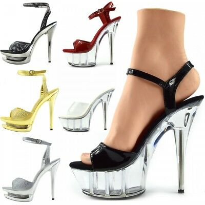 Womens Platform Pole Shoes  Perspex Clubbing Tease High Heel Sandal Mules Sexy • 34.99£