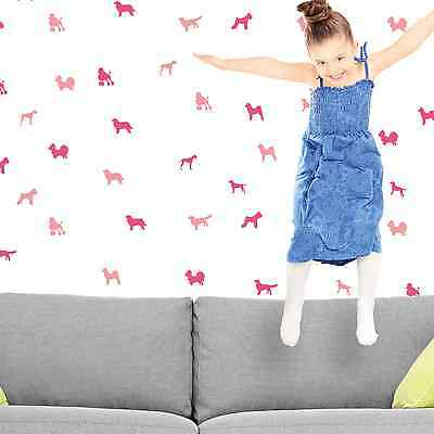 Nursery Wall Decorations PINK PUPPIES Stickers For Your Children Living Room • 2.99£