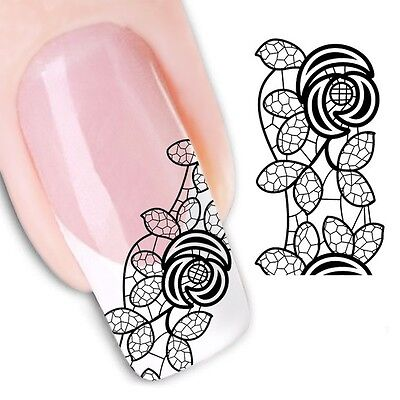 £1.75 • Buy Nail Art Stickers Water Decals Transfers Black Lace Rose (XF1343)