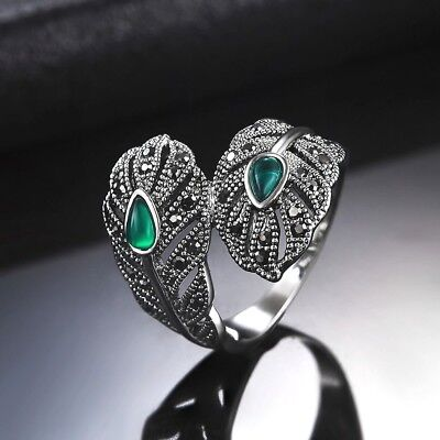 Feather Wrap Silver Plated Ring Elegant Leaf Green Peacock  Size K M P R • 5.90£