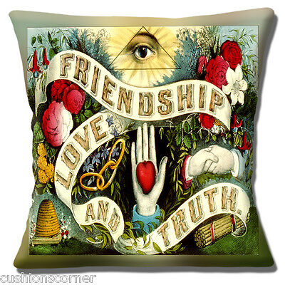 £10.95 • Buy Friendship Love And Truth Cushion Cover 16 X16  40cm Vintage Retro Style Design