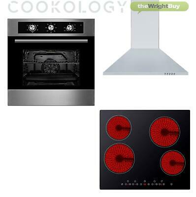 Cookology 60cm Electric Fan Oven, Touch Control Ceramic Hob & Cooker Hood Pack • 374.99£