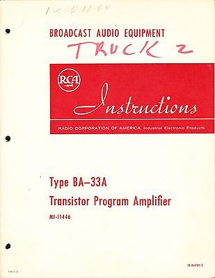 $39.99 • Buy RCA INSTRUCTION MANUAL For BA-33A PROGRAM AMPLIFIER