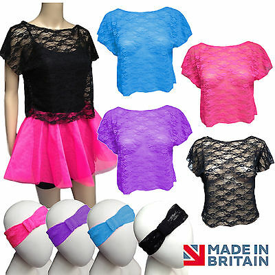 AU14.40 • Buy 80s Retro POP STAR LACE CROP Top + NEON TUTU Costume HEN PARTY OUTFIT UK MADE