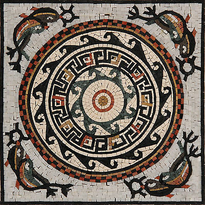 £178.79 • Buy Geometrical Art Floor Decor Pattern Surrounded By Dolphins Marble Mosaic GEO683