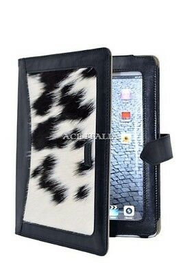 $35.41 • Buy IPAD 2 3 & 4 Black Cow Skin Fur Luxury Real Genuine Leather Cover Case Stand