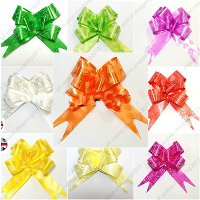 £1.99 • Buy 5- 50 Pull Bow Decoration Large Wedding Car Xmas Gift Wrap Florist 10 Color 30mm