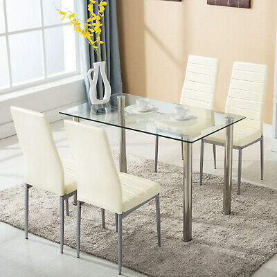 5 Piece Dining Table Set Glass Metal With 4 Chairs Kitchen Dining Room Furniture • 159.90$