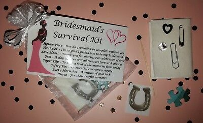 Bridesmaid Survival Kit Thank You Keepsake Gift Wedding Favour Novelty Bag • 2.05£