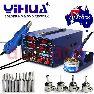 AU216.99 • Buy 3in1 YIHUA853D 3A DC POWER SUPPLY HOT AIR GUN SOLDERING REWORK STATION OZ