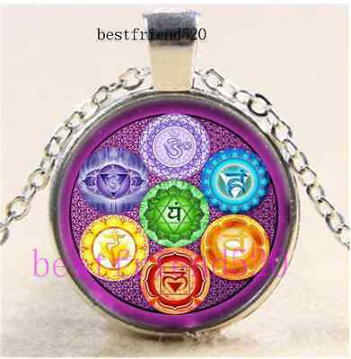 Merkaba Metatron Flower Of Life Cabochon Glass Tibet Silver Chain Necklace • 1.86£
