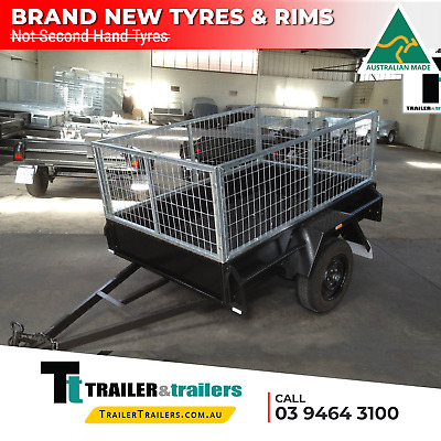 AU1345 • Buy 6x4 SINGLE AXLE CAGE TRAILER | 2FT CAGE -750Kg GVM- CHECKERPLATE FL. | New Tyres