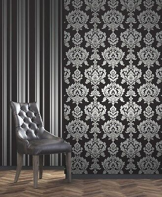 Fd Foils Black Silver Damask Luxury Quality Wallpaper Fine Decor Dl40457 • 19.90£