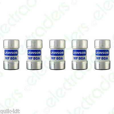 £22.50 • Buy 5 X Lawson MF80A Cut Out Fuses - 80 Amp BS88