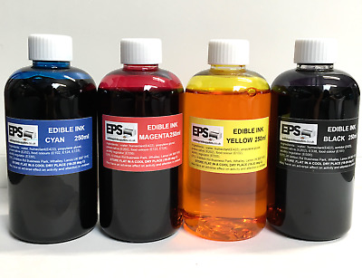 £28.95 • Buy EPS Edible Ink 250ml Set For Canon Epson Printers (red, Yellow, Blue, Black)