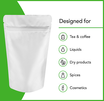 Heat Seal White Aluminium Foil Stand Up Bags / Pouches GRIP SEAL Bag Food Grade • 5.74£