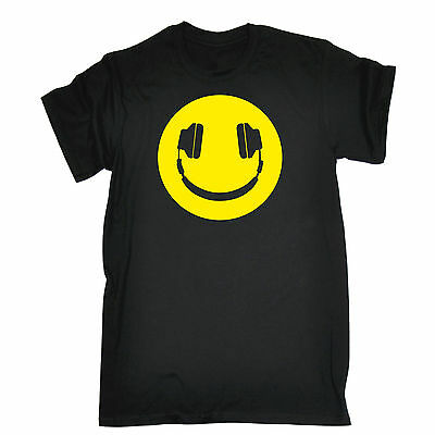 Yellow Headphone Smiling T-SHIRT Dj Party Dance Rave Fashion Gift Birthday Funny • 8.97£