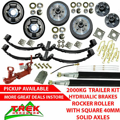 AU1030 • Buy DIY 2000KG Rated Solid Axle Tandem Trailer Kit, Rocker Roller, Hydraulic Brakes