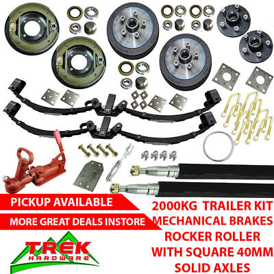 AU870 • Buy 2000KG Rated Solid Axle Tandem Trailer Kit, Rocker Roller, Mechanical Brakes
