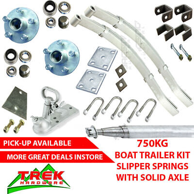 AU290 • Buy DIY 750KG Rated Single Solid Axle Kit, Boat Trailer Slipper Springs Hub Coupling