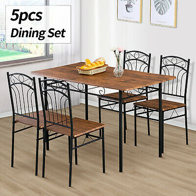 5 Piece Metal Dining Table Set 4 Chairs Wood Top Kitchen Dining Room Furniture • 129.90$