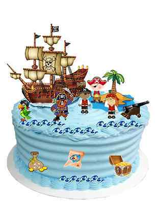 £2.95 • Buy CHILDRENS PIRATE CAKE SCENE EDIBLE WAFER CARD BIRTHDAY DECORATION (uncut)
