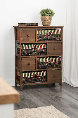 Wicker Basket Storage Unit Bedside Table Cabinet Chest Drawers Maize Shabby Chic • 54.95£