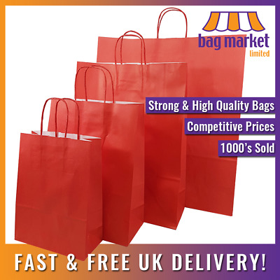 £5.25 • Buy Strong Red Ribbed Twisted Handle Paper Bags | Xmas/Shop/Gift/Fashion/Party/Kraft