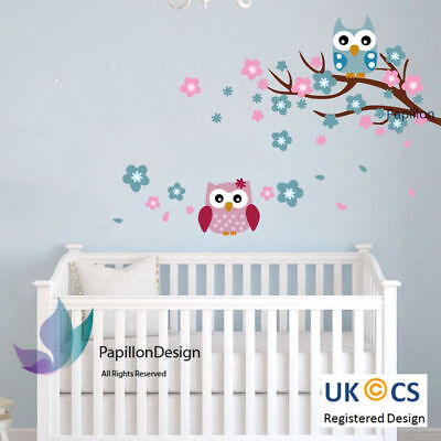 Blue/Pink Cherry Tree Flower Owls  Nursery Kid Baby Girl Boy Wall Decal Sticker  • 6.99£