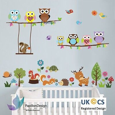 Woodland Animal Owl Squirrel Tree Bird Nursery Kid Baby Wall Decal Sticker  Deco • 12.99£