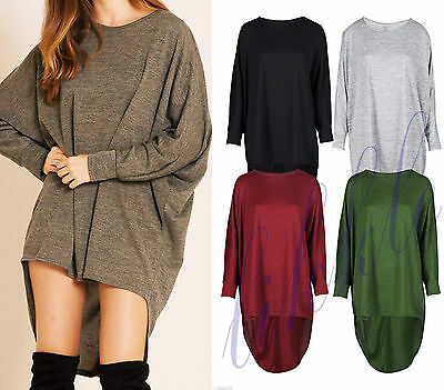 New Womens Ladies High Low Dip Back Loose Fit Over Sized Batwing Top Dress 8-26 • 8.99£