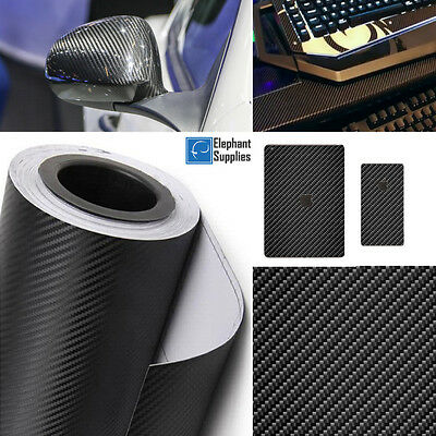 3D 4D Carbon Fibre Vinyl Wrap Self Adhesive Black Multi Sizes Air Bubble Free • 10.99£