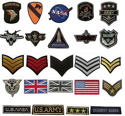Military Style Embroidered Iron On Sew On Patches Badges Transfers Fancy Dress • 2.49£