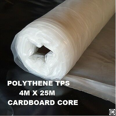 £14.75 • Buy Clear Builders Polythene Plastic Sheeting Roll TPS 25m X 4m QUICK DELIVERY