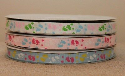 £1.99 • Buy Baby Feet Grosgrain Ribbon3 Colours Cake/gift Decorating Baby Shower,nappy Cakes