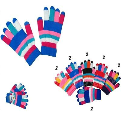 $19.45 • Buy 12 Pairs Women Girls Magic Stripe Multi-Colors Winter Warm Knitted Gloves Lot