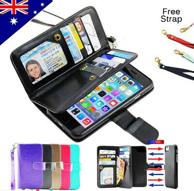 AU9.68 • Buy For Apple IPhone 7 7 Plus 6 6S Plus Case Magnetic Wallet Card Holder Cover Strap
