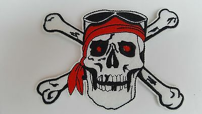£2.59 • Buy Large Pirate Skull And Crossbones Iron On Sew On Patch Transfer Fancy Dress