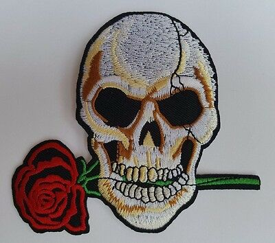 £2.59 • Buy Skull With Rose Iron On Sew On Patch Transfer Fancy Dress